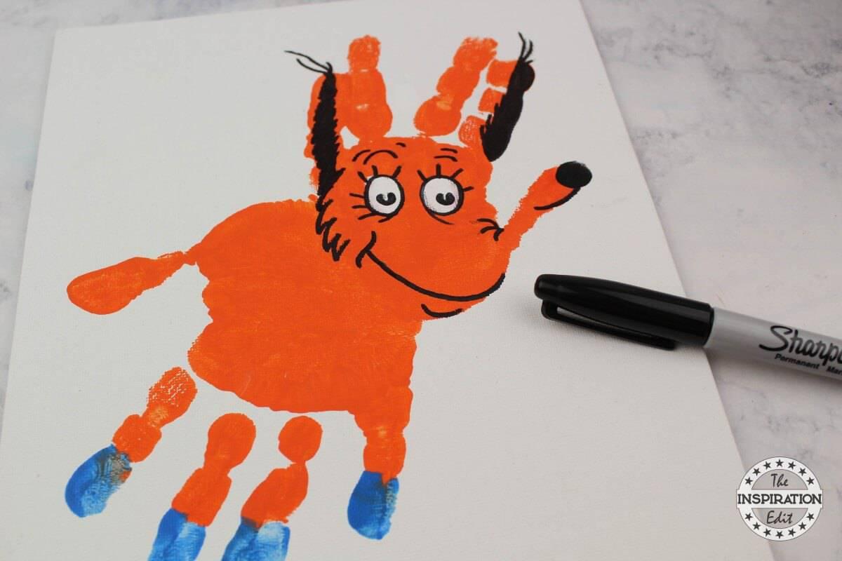fox in socks handprint canvas Dr Seuss Crafts