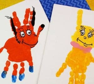 fox in socks handprint art