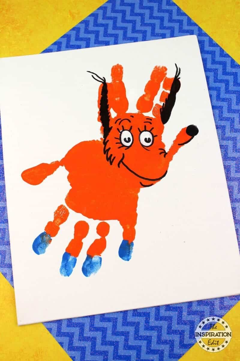 fox in socks handprint canvas