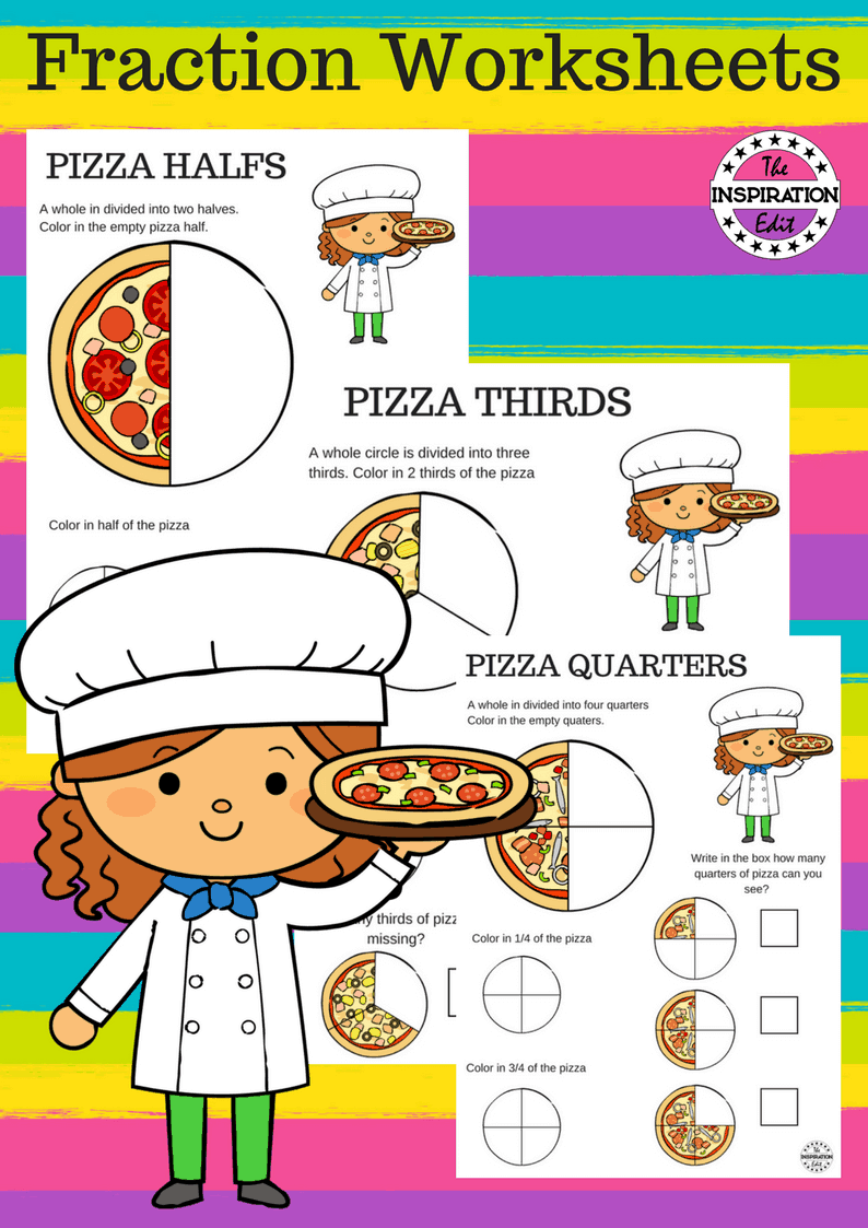pizza fraction worksheets for kids · the inspiration edit