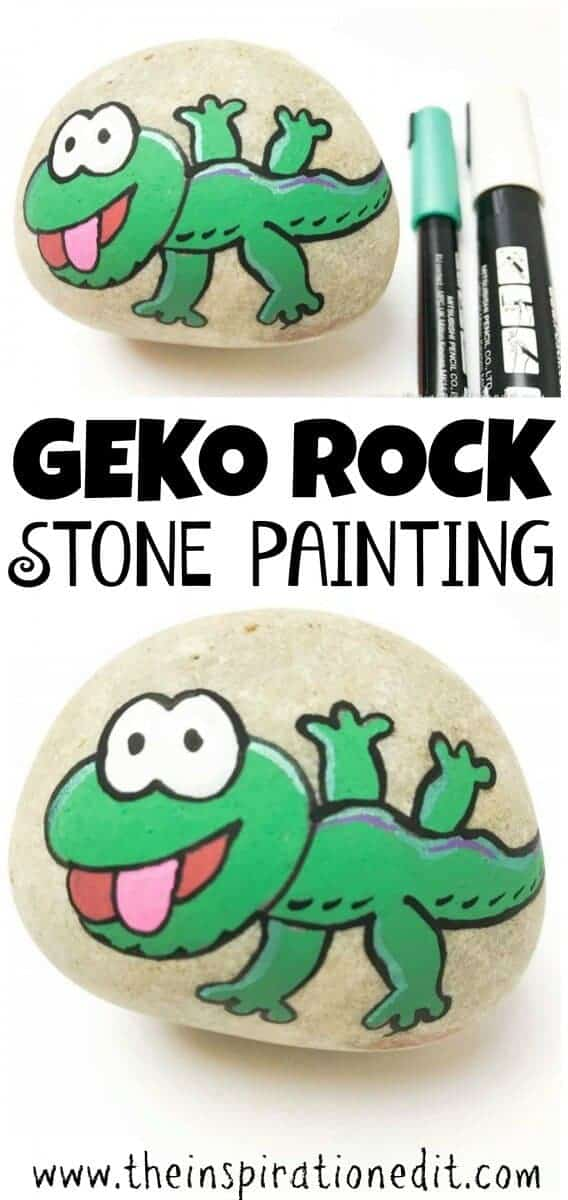 gecko painted rock stone