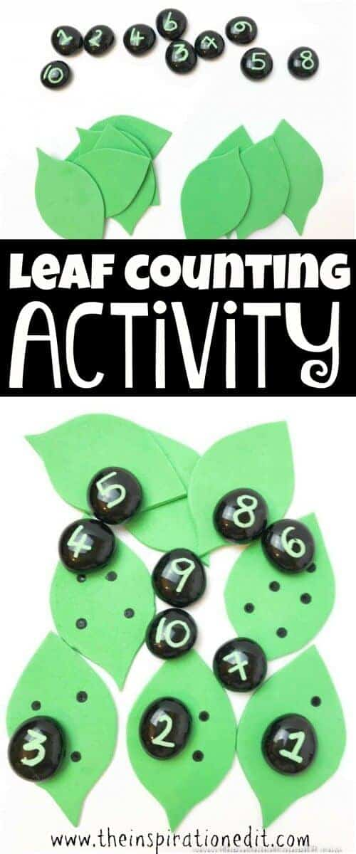 Leaf counting activity for preschool kids