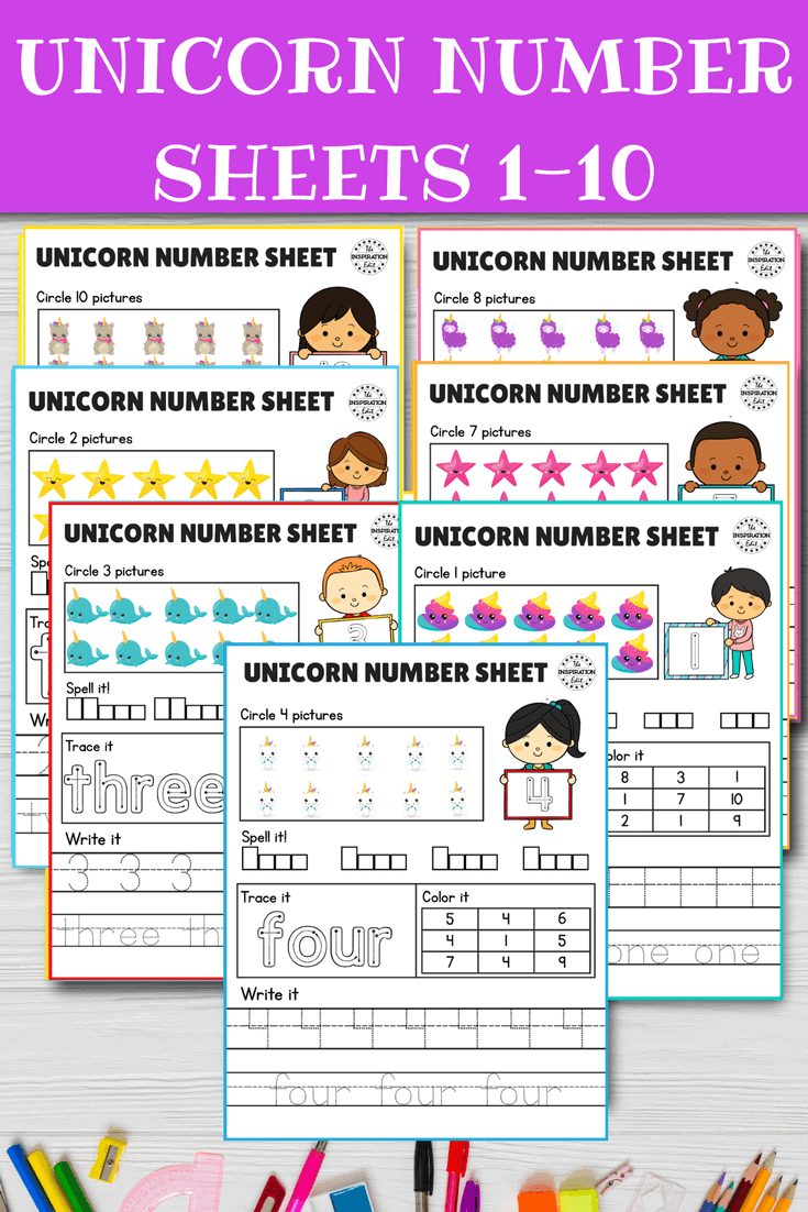 unicorn counting worksheets