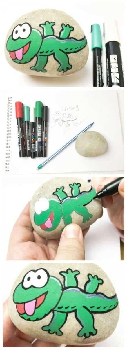painted rock stone gceko tutorial