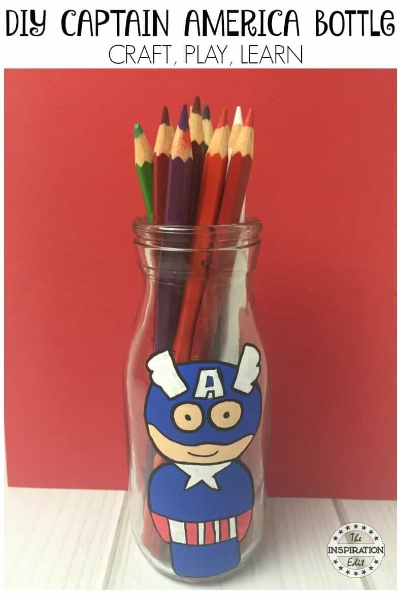 Captain America Craft and Painted bottle idea for kids