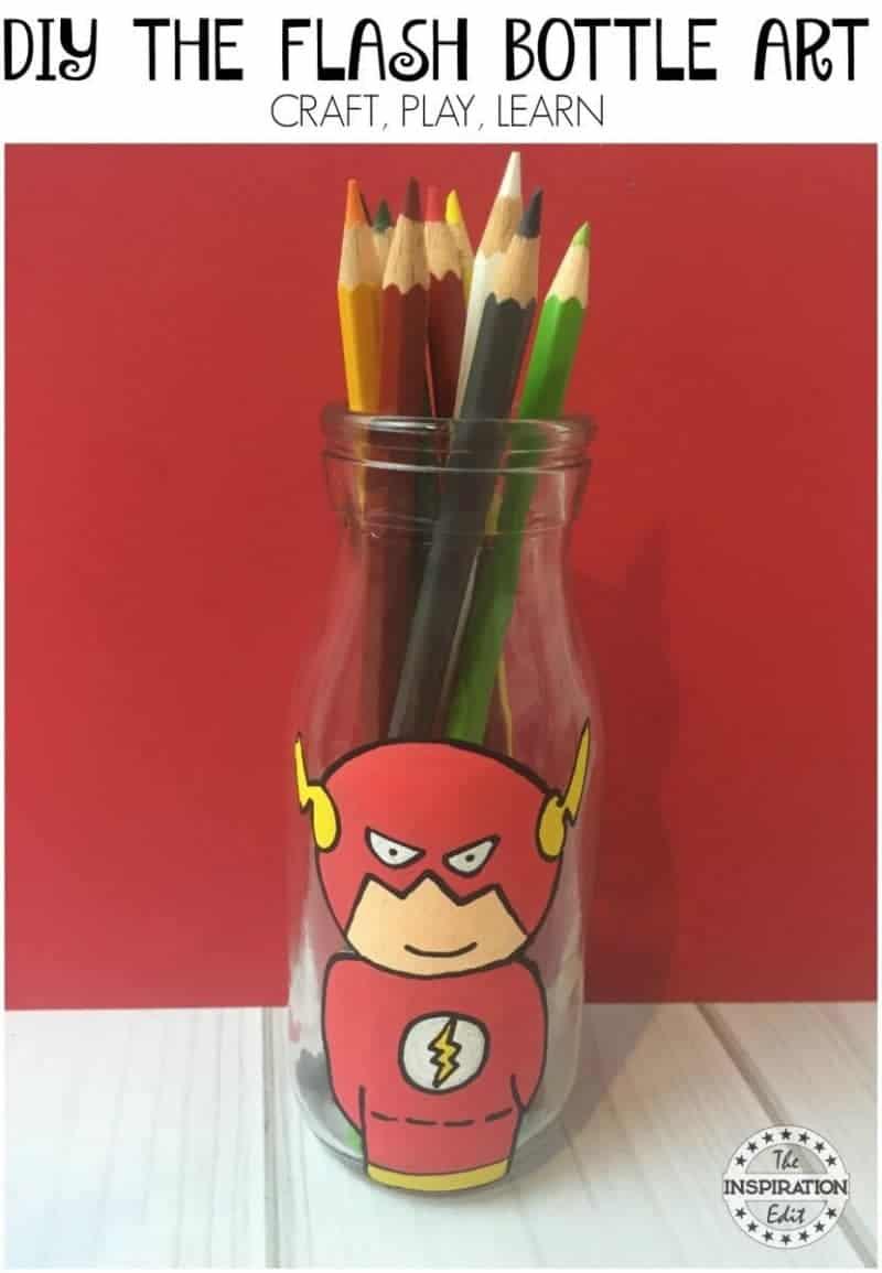 diy pencil holder featuring the flash superhero crafts