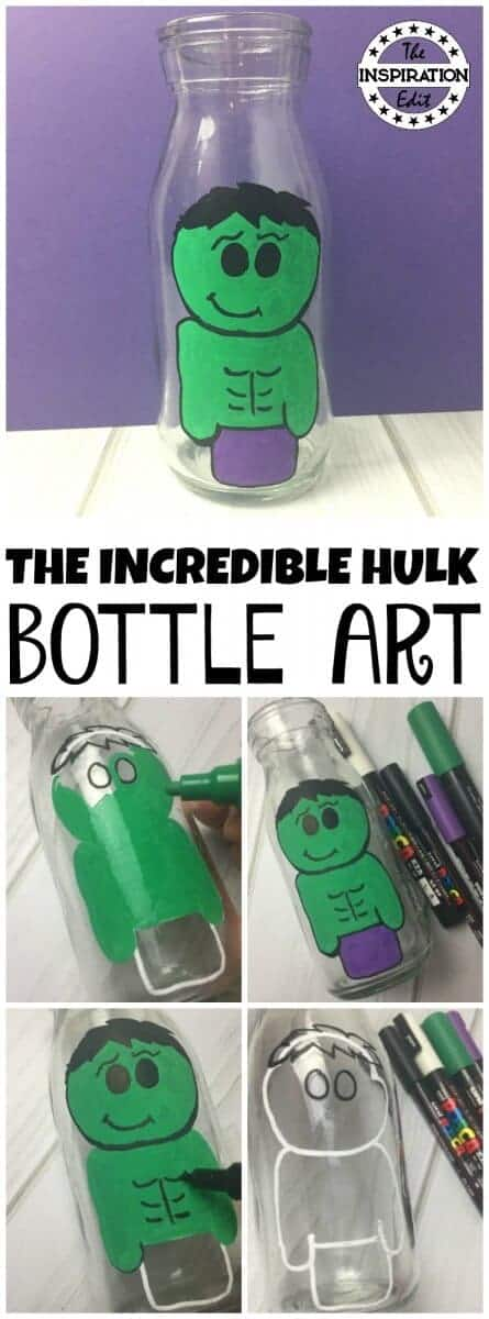 The Incredible Hulk Bottle Painting For Kids