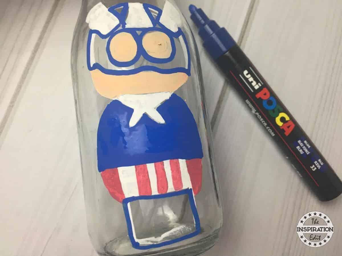 Captain America Craft anCaptain America Craft and Painted bottle idea for kids