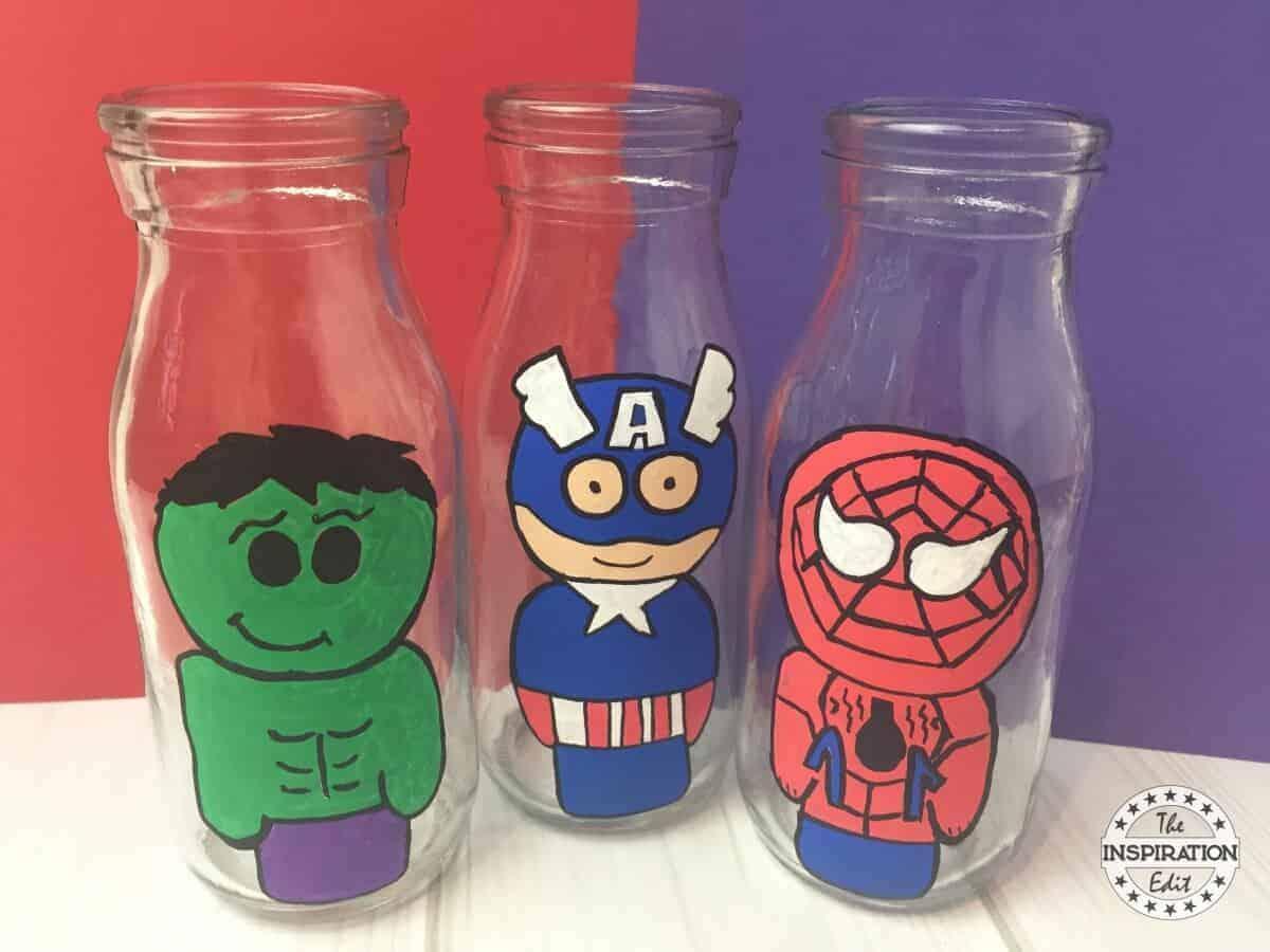 Superhero Bottle Painting For Kids