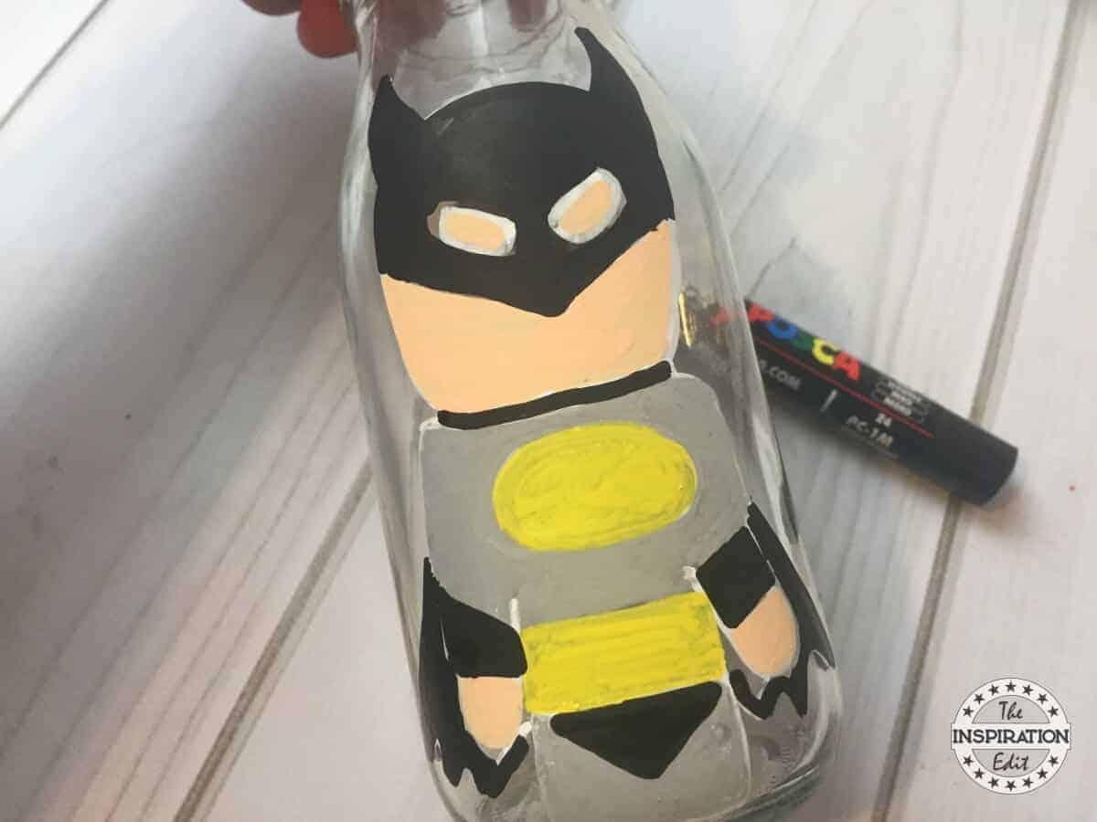 Batman craft Superhero Bottle Painting For Kids