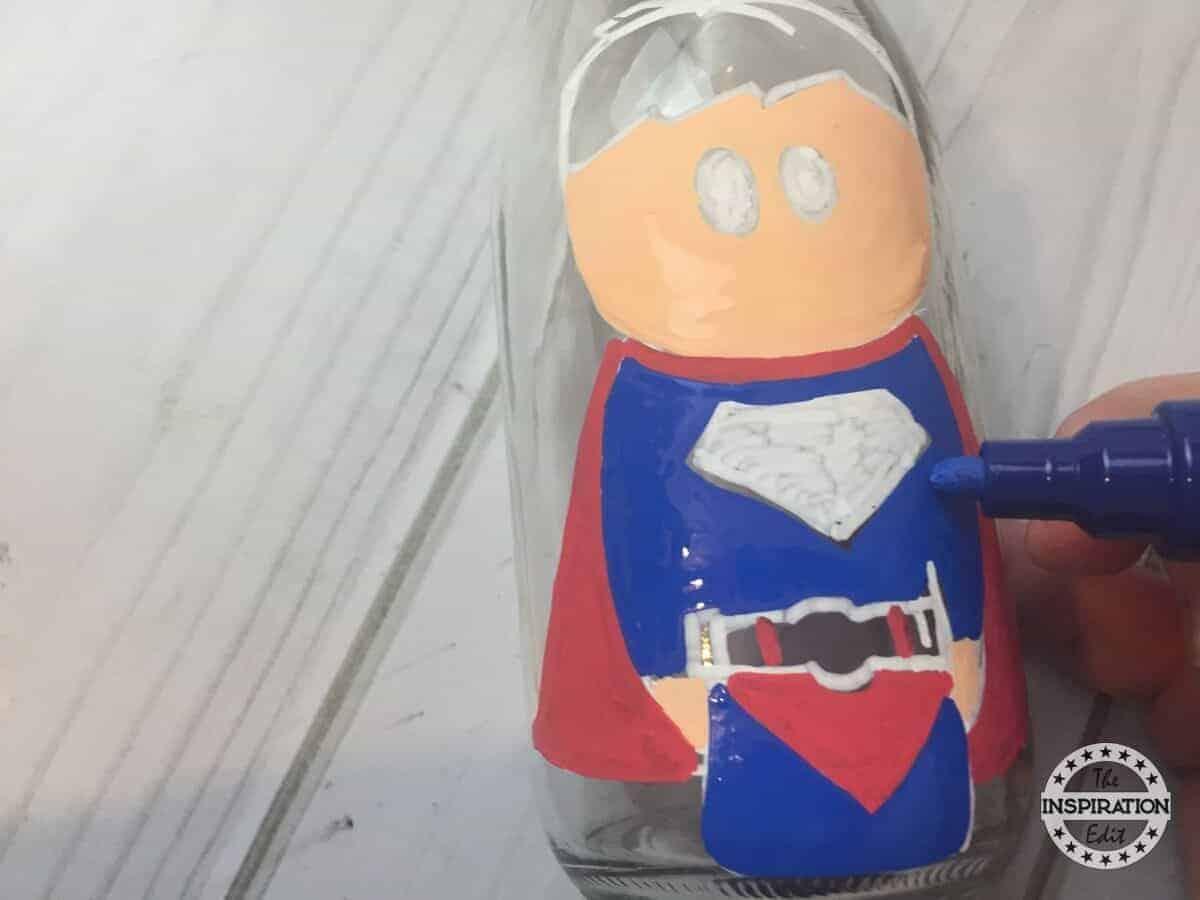Superman Superhero crafts Bottle Painting For Kids