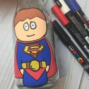 Superman Superhero Bottle Painting For Kids