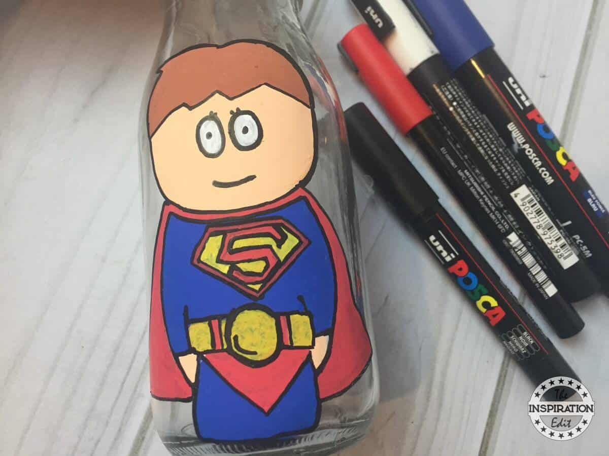 Superman Superhero Bottle Painting For Kids