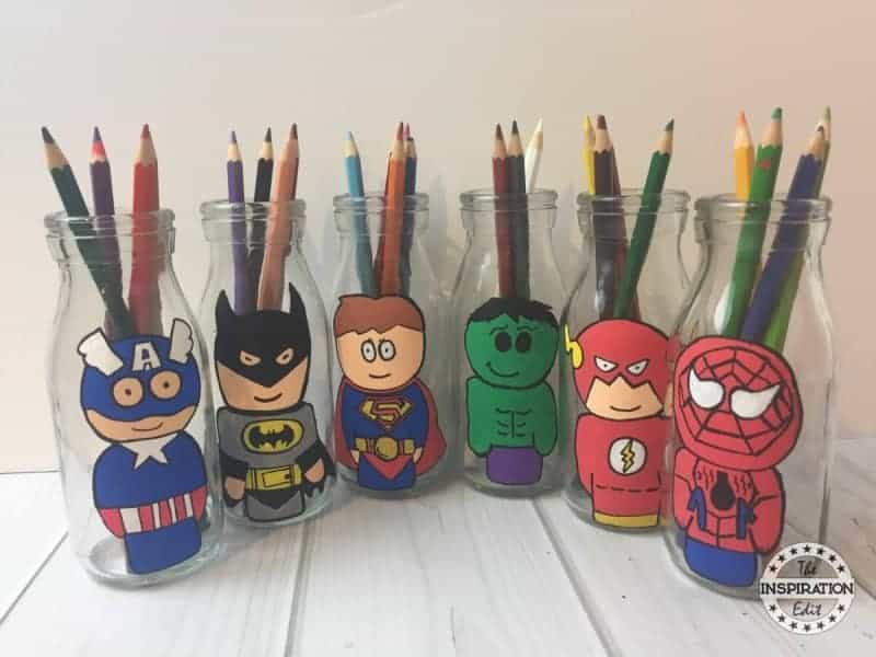 superhero crafts milk bottles with superheroes painted on them