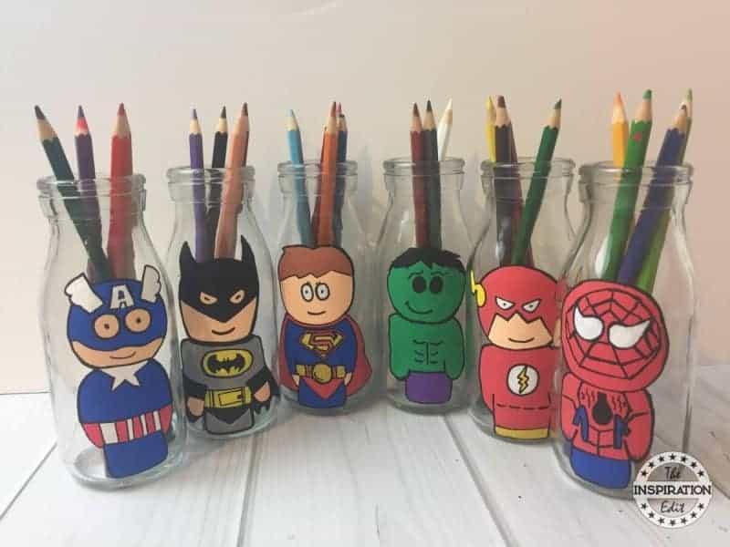 superhero crafts milk bottles with superheroes painted on them