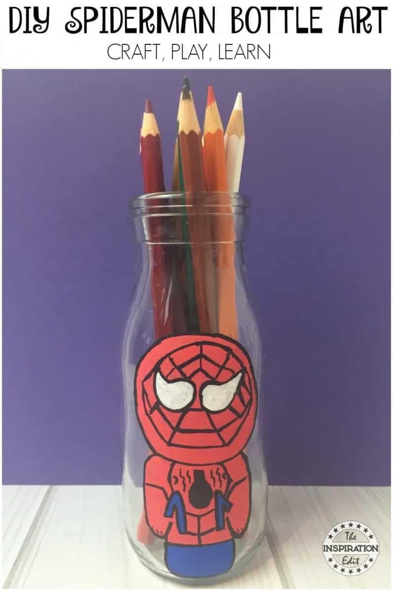 Spiderman craft bottle art idea