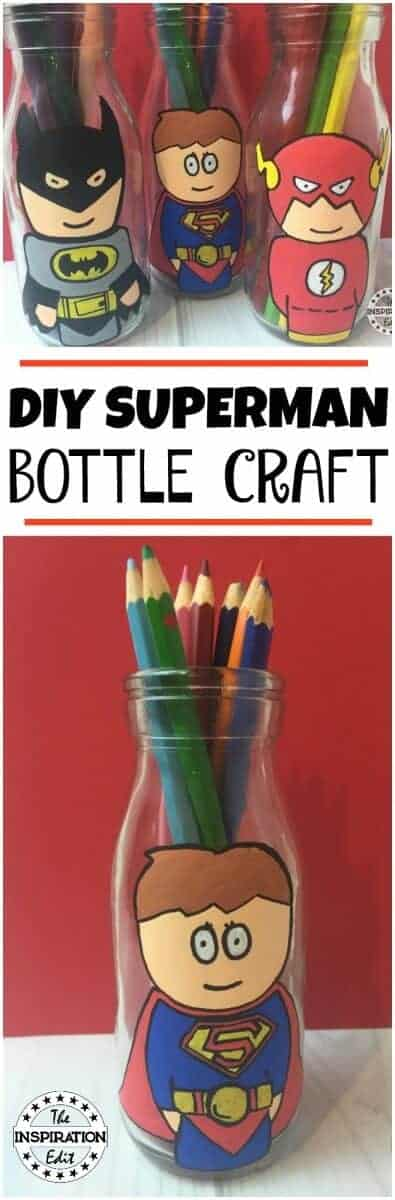 superhero crafts a milk bottle with superman painted on it.