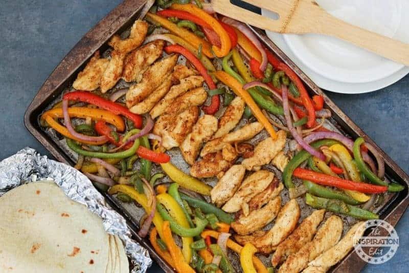 weight watchers chicken fajitas on a sheet pan