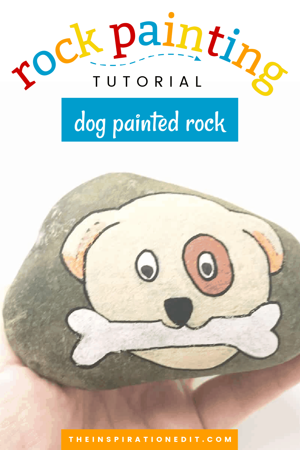 dog painted rock
