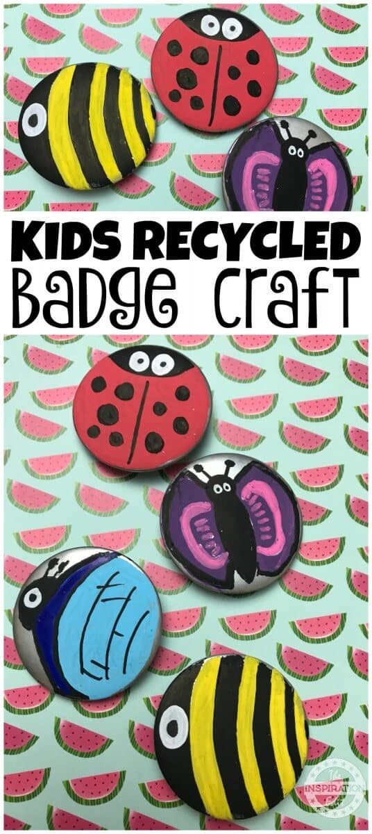 recycled badge bug craft