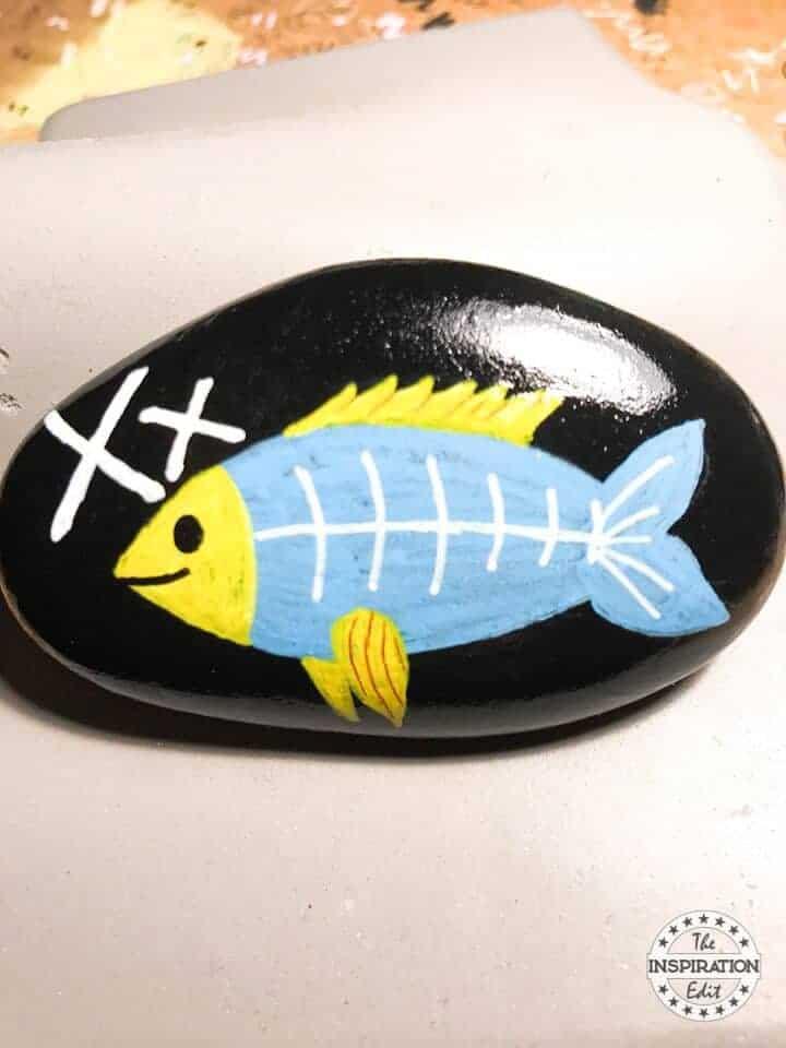 xray fish rock painting