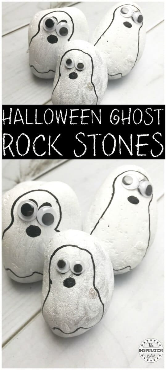halloween craft Ghost Rock Stones rock painting ideas