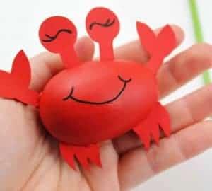 wooden egg crab craft