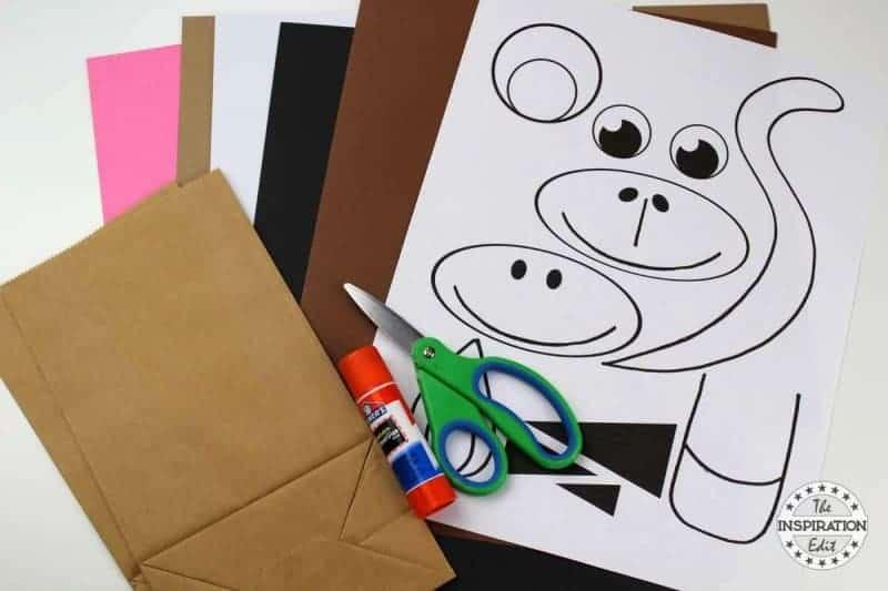 Paper Bag Zebra Puppet Craft Idea supplies needed