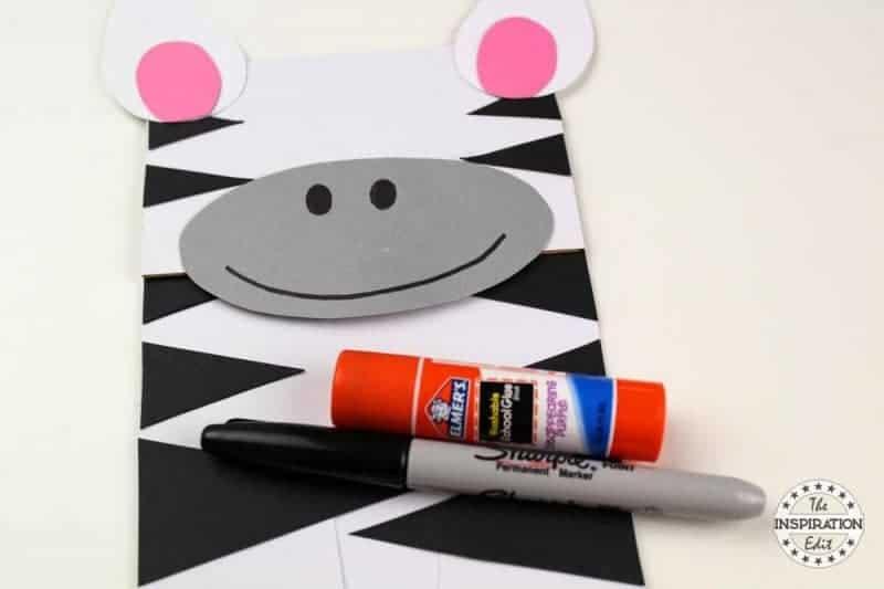 making a paper bag puppet zebra