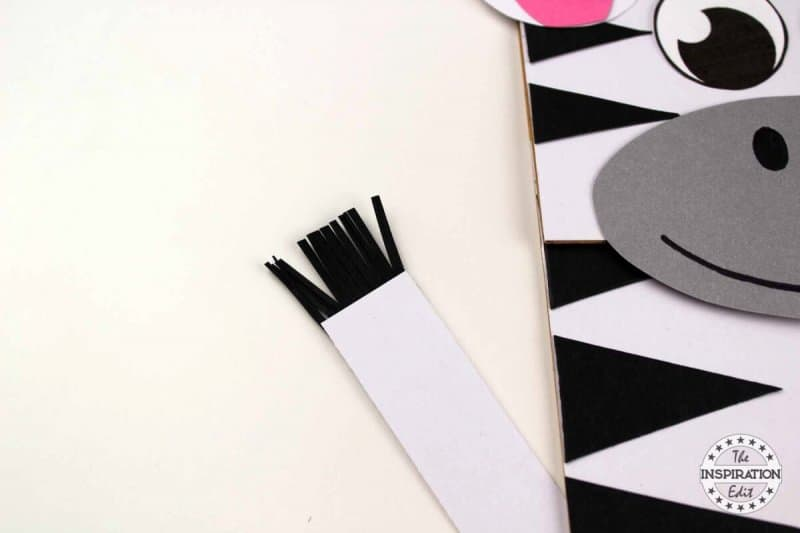 making a paper bag zebra puppet