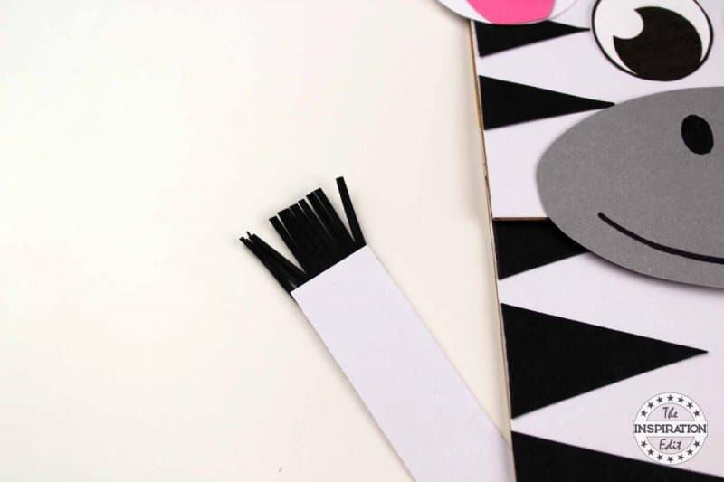 making a paper bag zebra puppet