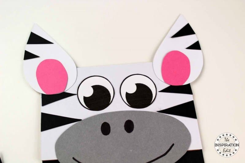 Paper Bag Zebra Puppet Craft Idea