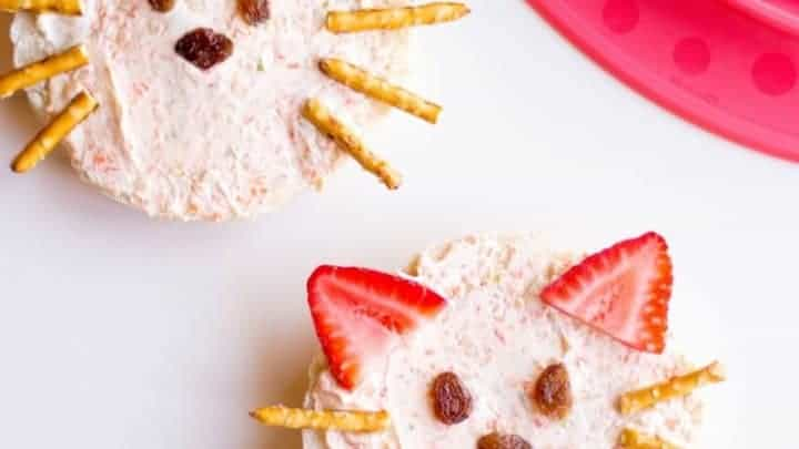 cat celery and carrot cream cheese bagels fun food idea for kids