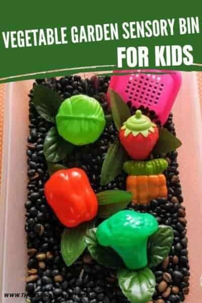 vegetable garden sensory bin