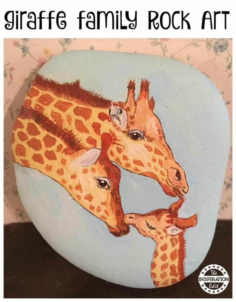 giraffe rock painting