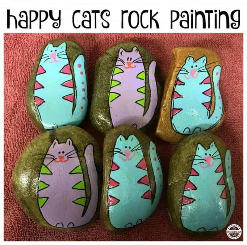 happy cats rock stone art