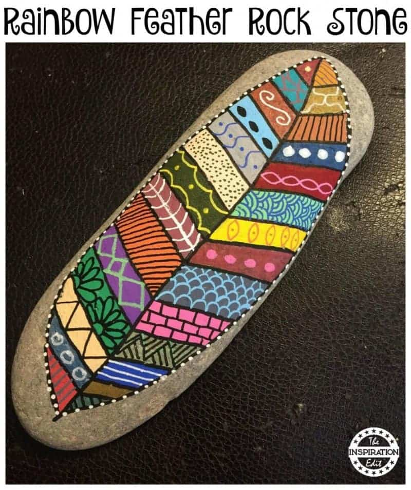 rainbow feather rock painting