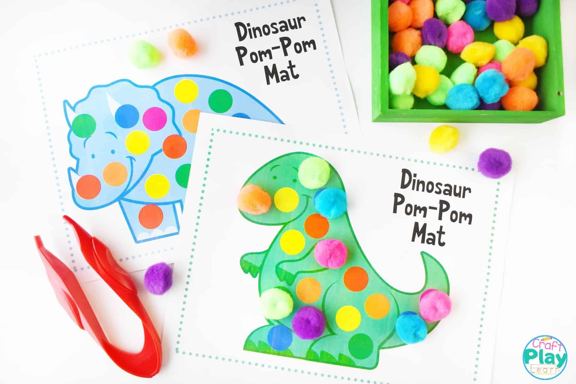 dinosaur color mats