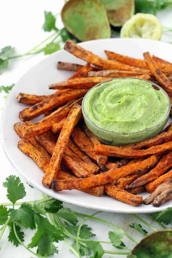 Crispy-Baked-Sweet-Potato-Fries-with-Avocado-Cilantro-Sauce