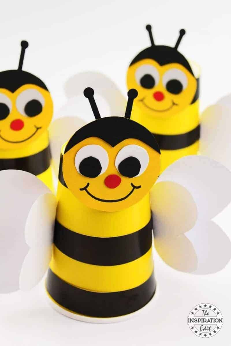 preschool bumble bee craft idea made from paper cup
