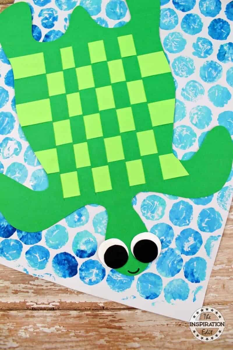 paper weave turtle craft for kids