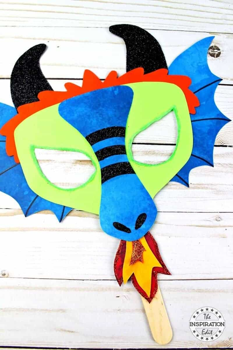 a blue Chinese new year dragon craft mask activity with free downloadable template