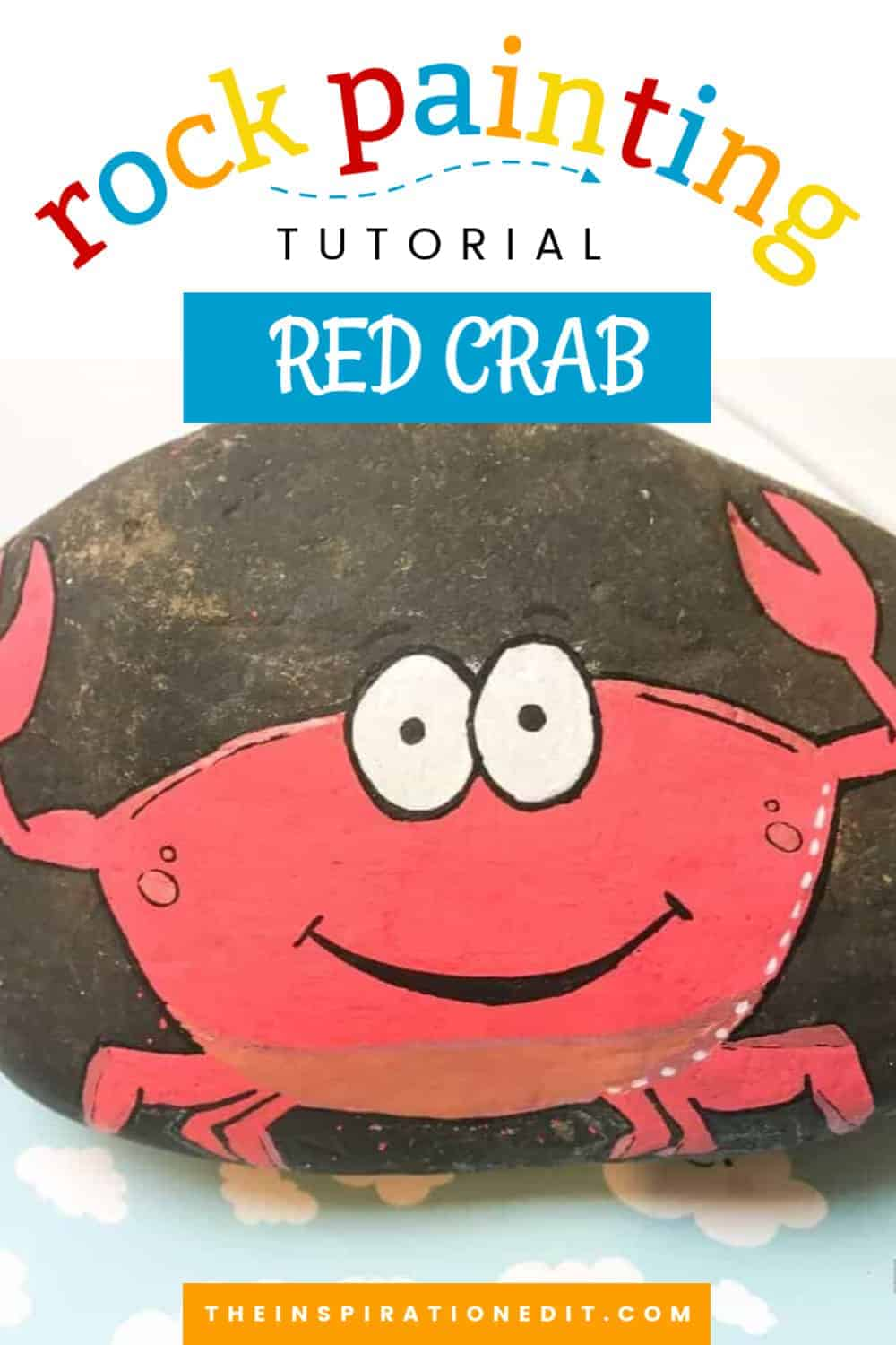 Crab painted rock