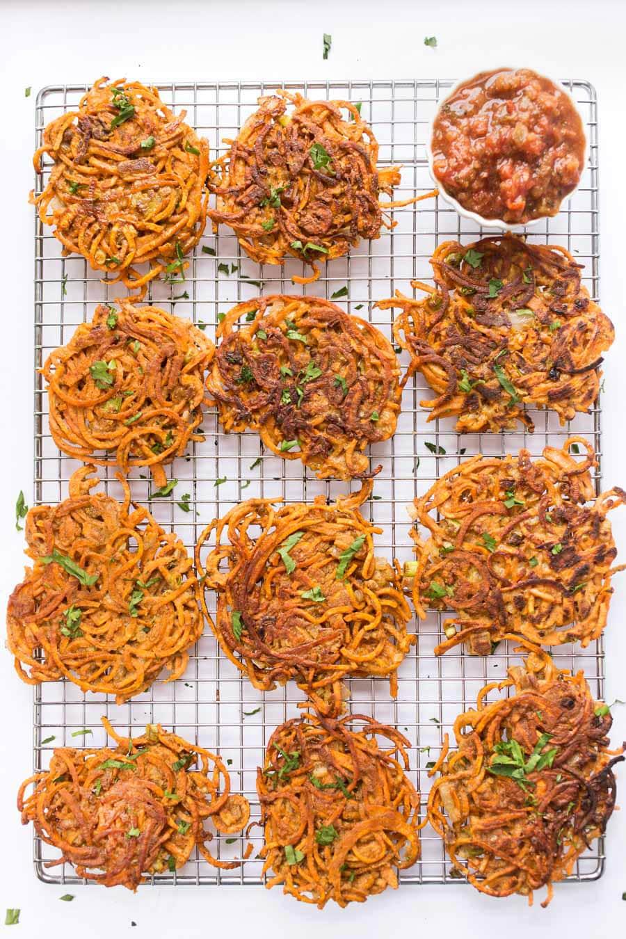 spiralized-sweet-potato-fritters