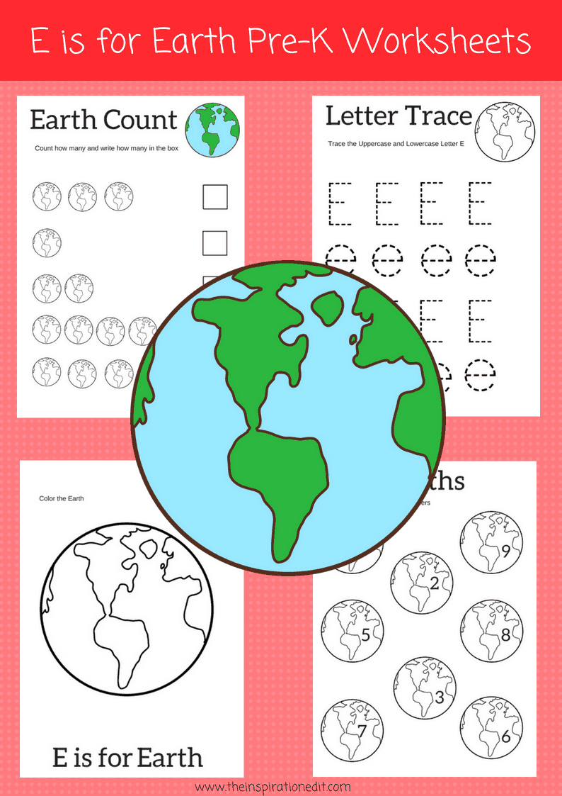 E is for Earth preschool Worksheets