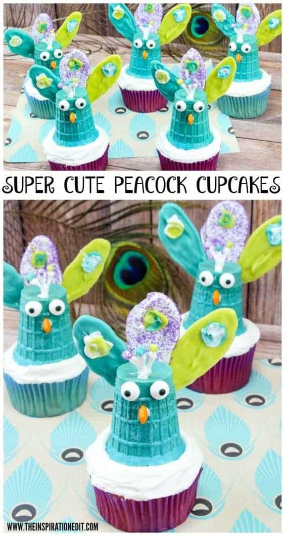 peacock cupcakes and peacock cupcake toppers