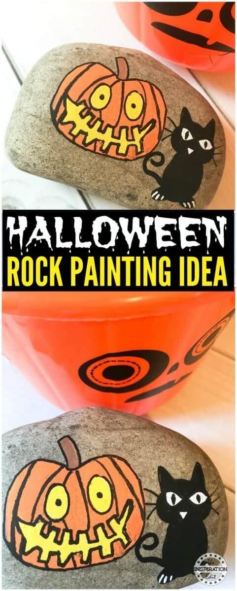 easy halloween craft halloween pumpkin rocks with black cat