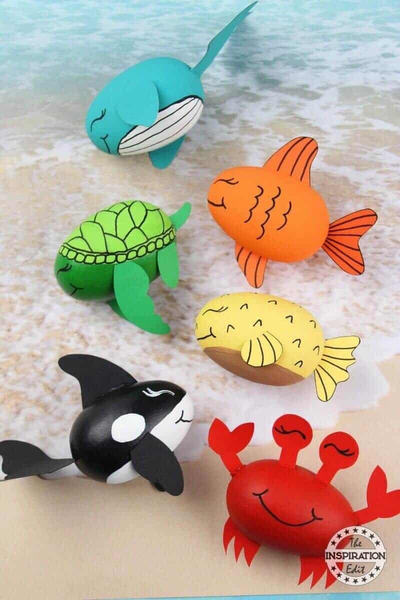 ocean creatures painted on eggs