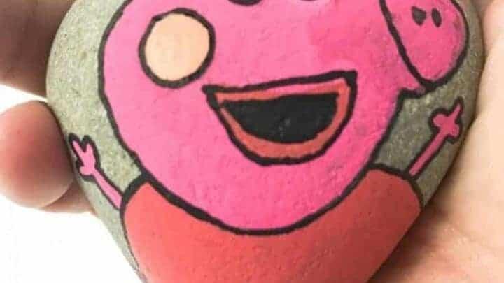 peppa pig painted rock