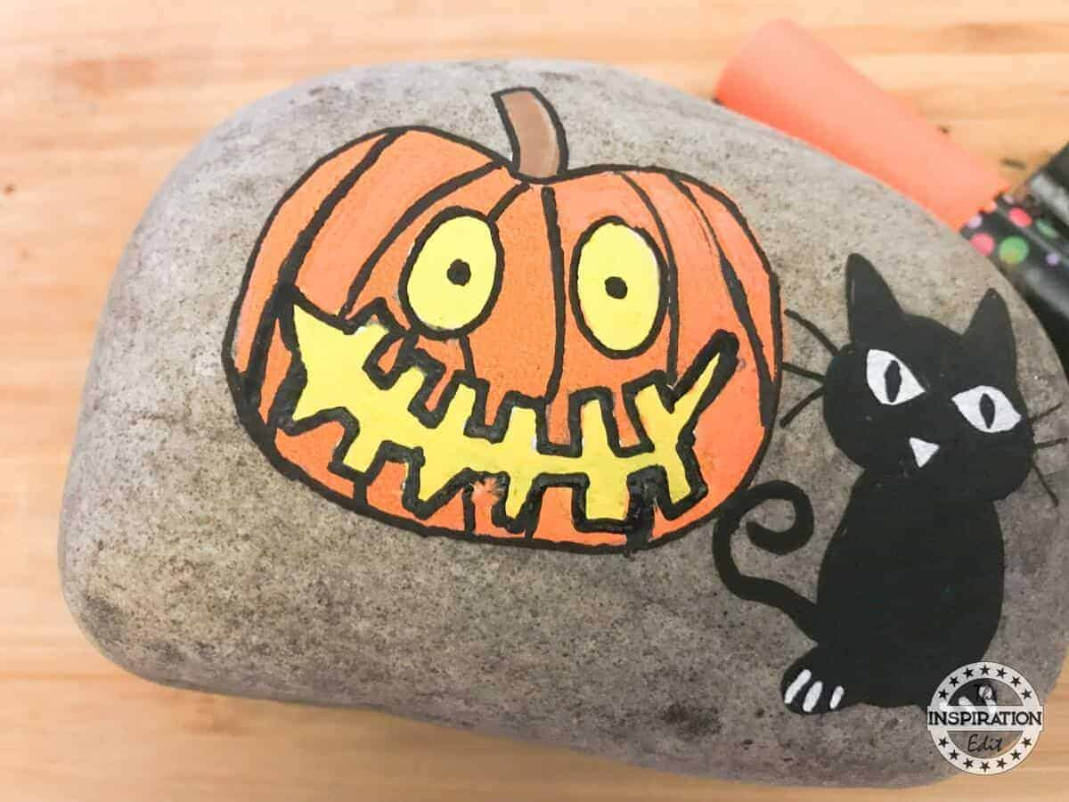 Halloween Pumpkin Painted Rock